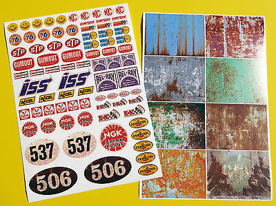 RC Vintage RUSTY PATINA panels logos Tamiya Sand Scorcher style Decals stickers