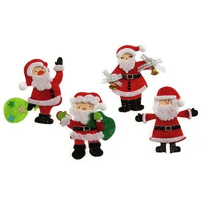 Craft For Occasions Assorted Santa Embellishment 4 Cards/craft
