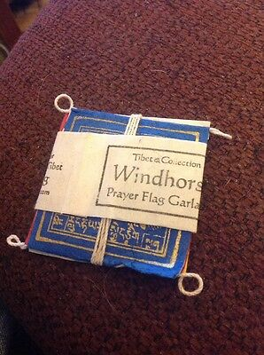 "Tibet Collection Windhorse Prayer Flags Garland 2 1/2"" square Handmade in Nepal"