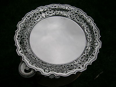Superb English Hallmarked Solid Silver Cake Stand. Walker & Hall 1901