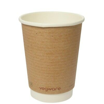 Pack of 500 Vegware Compostable Double Wall Hot Cup 350ml Plant Based Disposable