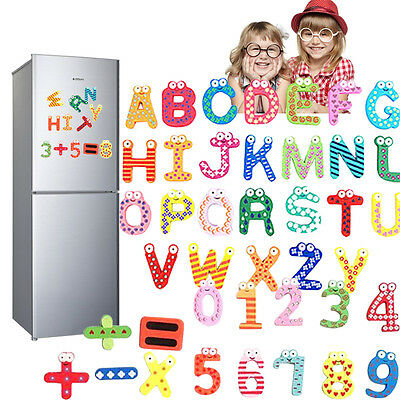 Wooden 26 Alphabets Fridge Magnets Letter+Numbers For Kids Education Learn Toys