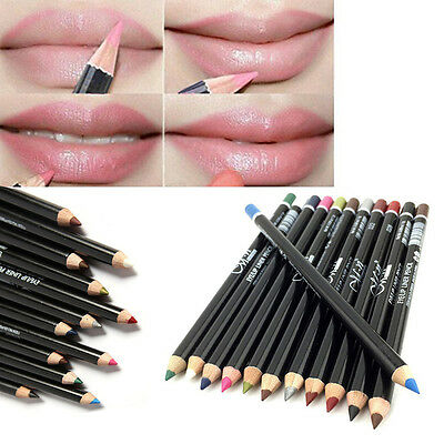 12PCS Lot Colors Professional Lipliner Waterproof Lip Liner Pencil Makeup PF