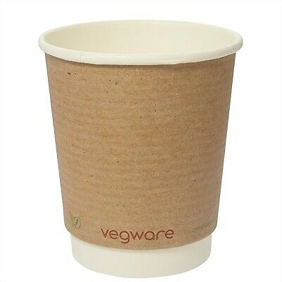 Pack of 500 Vegware Compostable Double Wall Hot Cup 230ml Plant Based Disposable