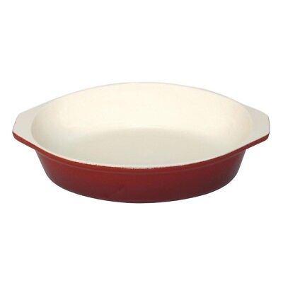 Vogue Round Red Cast Iron Gratin Baking Roasting Oven Stainless Steel Cookware