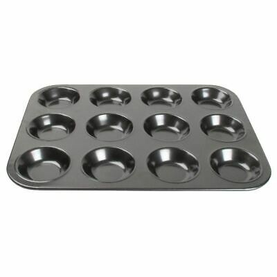 Vogue Non Stick Mini Muffin Tray with 12 Cups Made of Carbon Steel - 32x24cm