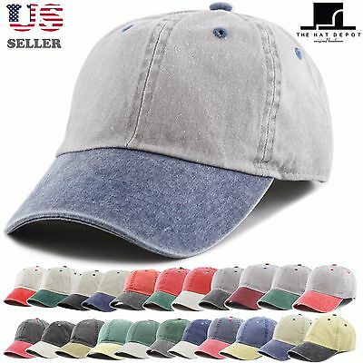 Pigment Dyed Two Tone Low Profile Cotton Six Panel Baseball Cap Hat 1201
