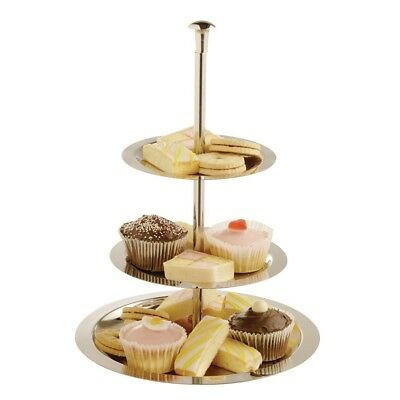 Olympia 3 Tier Stainless Steel Service Display Tray Cupcake Stand Plate Party