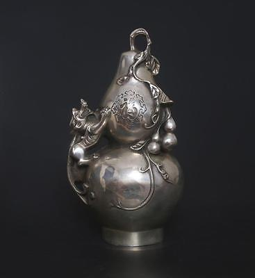 Chinese Old Carved Tibetan Silver Statue Qianlong Marked-Gourd s298