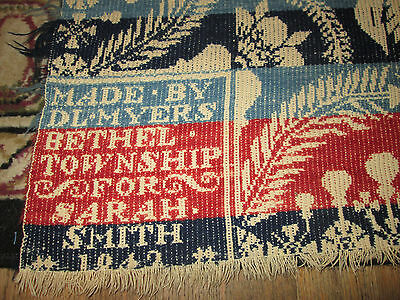 "Antique Coverlet Dated 1842 Very Bright Colors. 89""x71"" Dated, Signed, Must See"