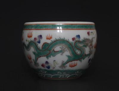 Chinese Porcelain Famille-Rose Dragon Pot Brush Washer Yongzheng Mark s231