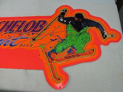 Collectible Michelob Snow Skier Tin Metal Beer Sign Neon Colors Anheuser Busch