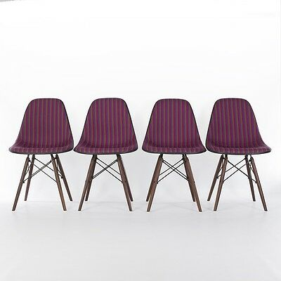 Herman Miller Vintage Original Set 4 Eames DSR Chairs Jacobs Coat Girard Fabric