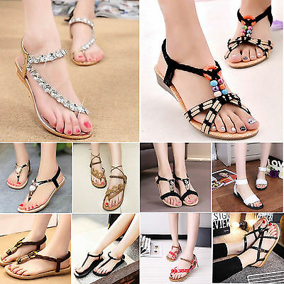 Summer Women Bohemia Flat Shoes Beach Sandals Casual T-Strap Slippers Flip Flop