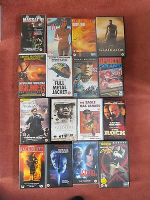 JOBLOT 16 x VHS Blockbuster film tapes, war, adventure and various movies