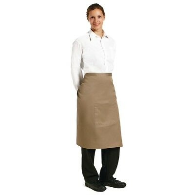 Whites Chefs Apparel Bistro Apron Tan Polycotton Catering Kitchenwear Clothing