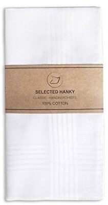 Selected Hanky 100% Cotton Men's Handkerchief White With Stich 12 Pieces New