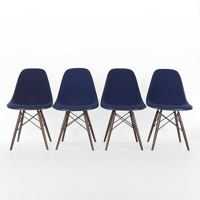Royal Blue Set 4 Herman Miller Vintage Original Eames Upholstered DSW Side Chair