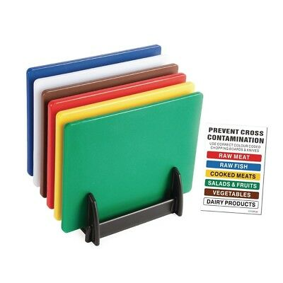 6X Hygiplas Standard Low Density Chopping Board Colour Coded Set Kitchen