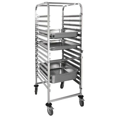 Vogue Gastronorm Racking Trolley 15 Level Catering Storage Rack Shelves