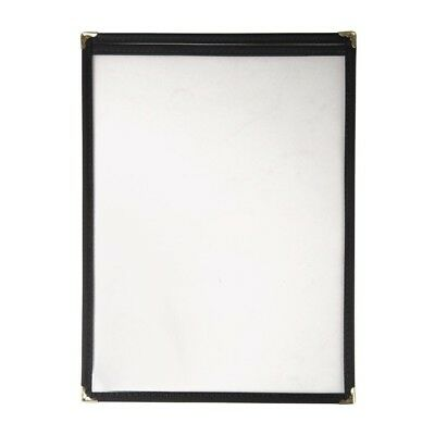 Olympia American Style Menu Holder Black 2 Card Plastic Cover