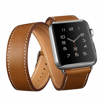 Apple watch iwatch brown premium leather double tour strap watchband 42 mm