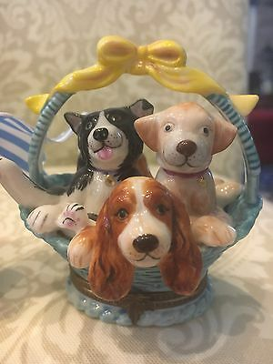 Porcelain Puppy Dog Trinket Box Opens to Beautiful Flower Design Lovely, MINT