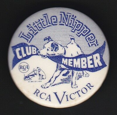 1940's RCA VICTOR LITTLE NIPPER Dog Club Member Advertising Pin Pinback Button