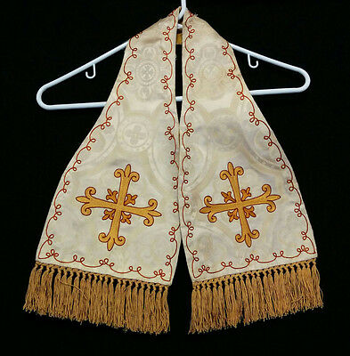 Vintage WHITE MANIPLE Gold Embroidered Cross Priest Vestments Church Clergy Mass