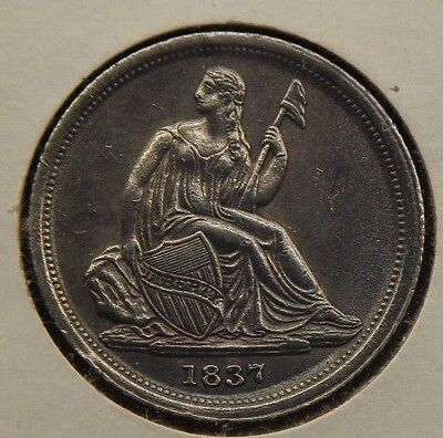 1837 10c Liberty Seated Silver Dime  small date no stars AU
