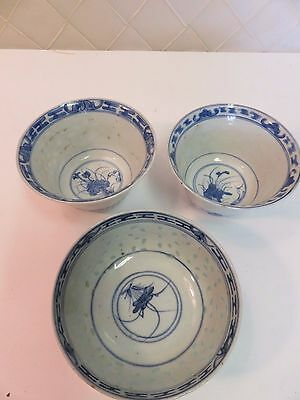 """Antique Translucent Rice Pattern Chinese Small Bowls 4-5"""" Set of 3"""