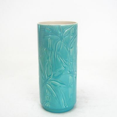 Catalina Pottery GMB Encanto Art Ware Cylinder Vase Bamboo Turq & Wht #3250