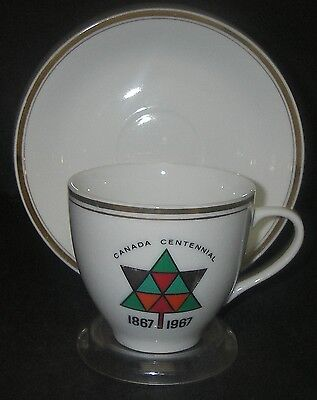 Commemorative Canada Centennial Logo CUP & SAUCER China 1867-1967 Maple Leaf