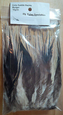 Strung Saddle Hackle (Badger) 15 gram bag