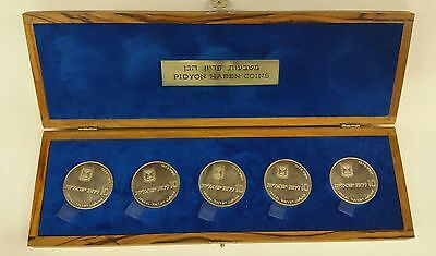 1970 Israel 10 Lirot Silver Proof Pidyon Haben 5 Coin Coins Set with Olive Wood
