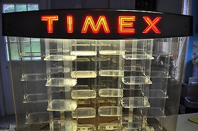 Vintage Timex Watch Display Case Lights Up and Rotates
