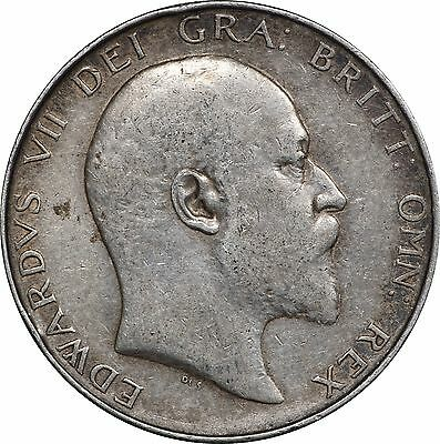 1909 Great Britain UK 1/2 Half Crown, KM# 802, VF - XF, Rim Damage