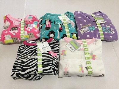 Carter's Size 4T Footed Fleece Sleeper Lot NWT Lot Of 5 Pairs