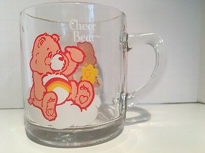 Vintage 1984 Care Bears CHEER BEAR Glass Mug American Greetings Corp