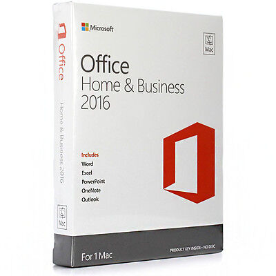 Microsoft Office Home and Business 2016 for Mac Product Key Card No Disc