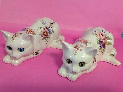 """Two Just Cats & Co Staffordshire Large White Flowers Cat Figures - 9"""" Long"""