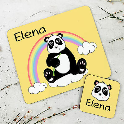 Personalised Kids New Panda Wooden Glossy Placemat and Coaster Set