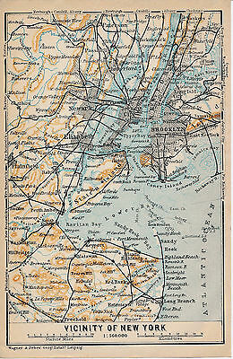 USA Vicinity of New York 1909 small orig. map Jersey Newark Jamaica Long Island