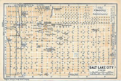 Salt Lake City 1909 small orig. city map + guide (5 p) Latter-Day-Saints Capitol