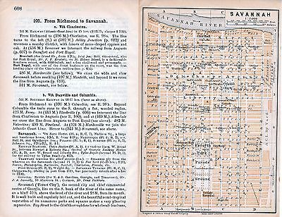 Savannah 1909 orig. city map + guide (4 p) Forsyth Colonial Park Hodgson Hall
