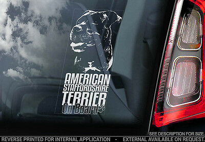 American Staffordshire Terrier - Car Window Sticker - Dog Sign -V10