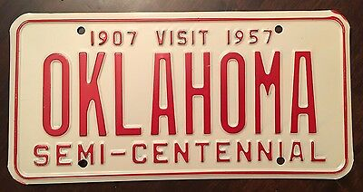 1957 Visit Oklahoma Semi-Centennial Front License Plate Tag - MINT
