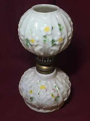 GWTW Embossed Daisy decorated milk glass miniature oil lamp S1-135
