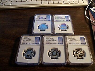 Ngc 2015 S Clad 5 Coin 25C Pf 69 Ultra Cameo-First Day Of Issue- Clean Slabs