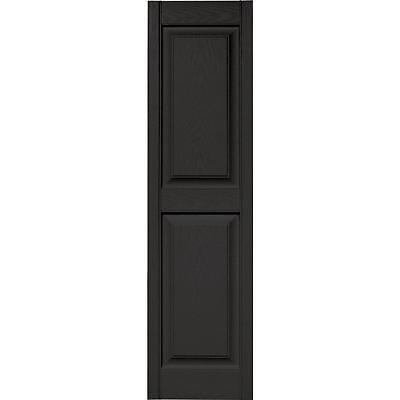 Raised Panel Vinyl Exterior Shutters Pair in #002 Black 15 in. x 55 in.